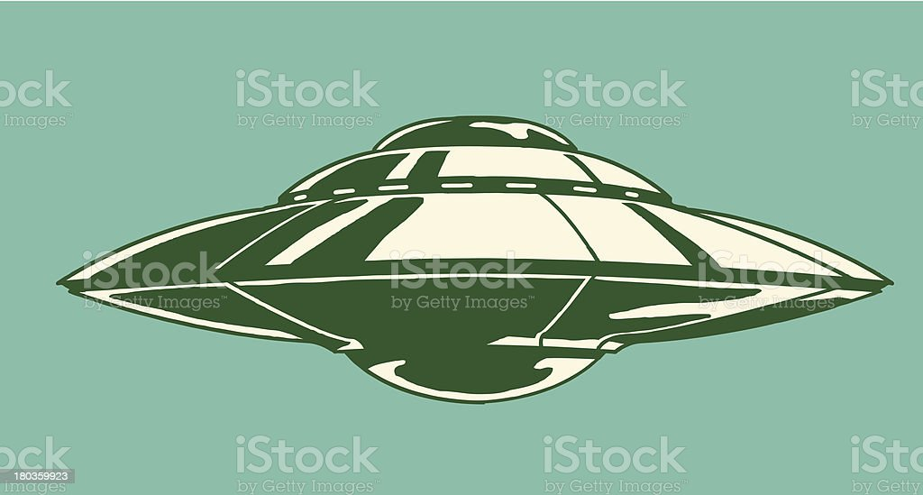 Spaceship illustration on teal background vector art illustration