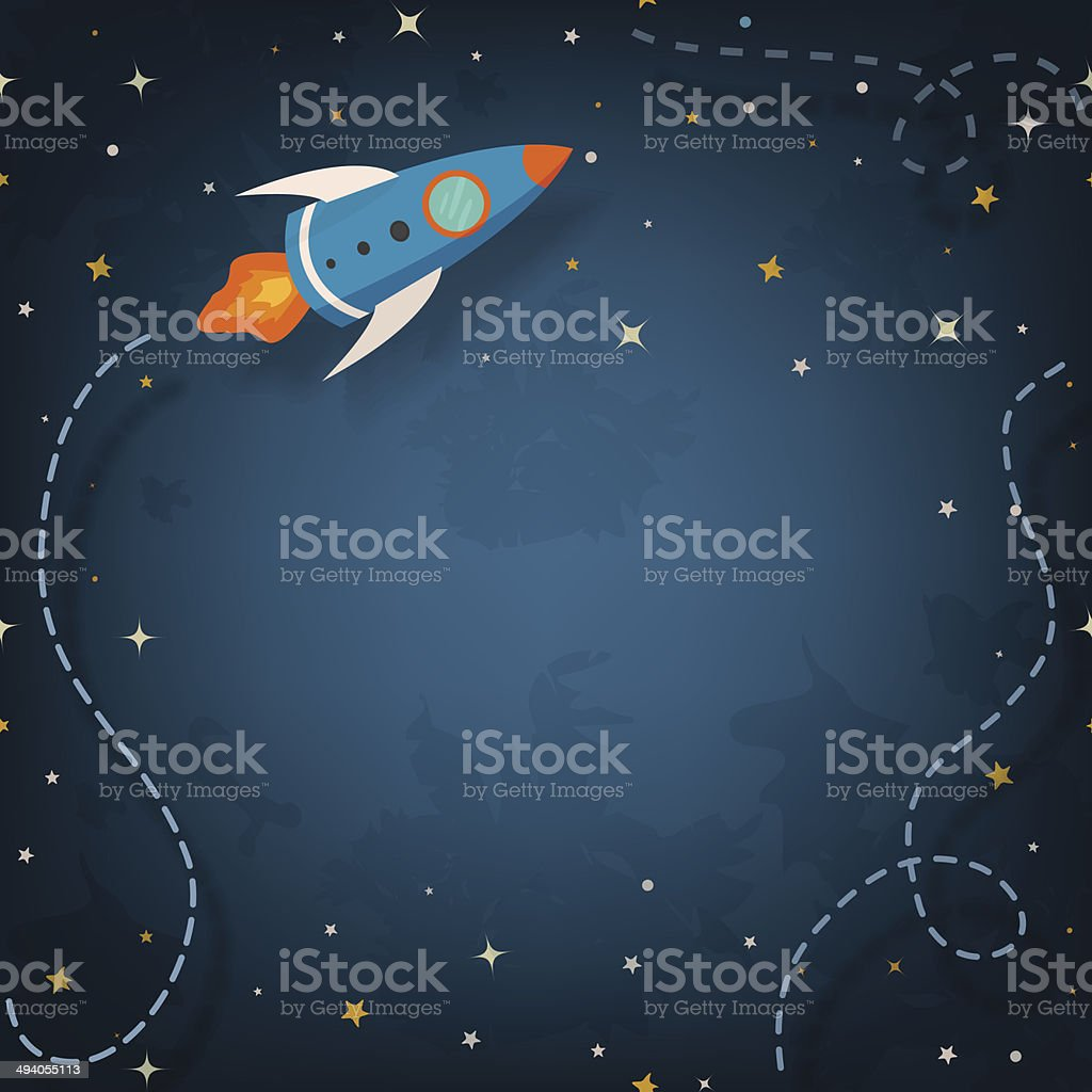 Spaceship illustration with space for your text vector art illustration