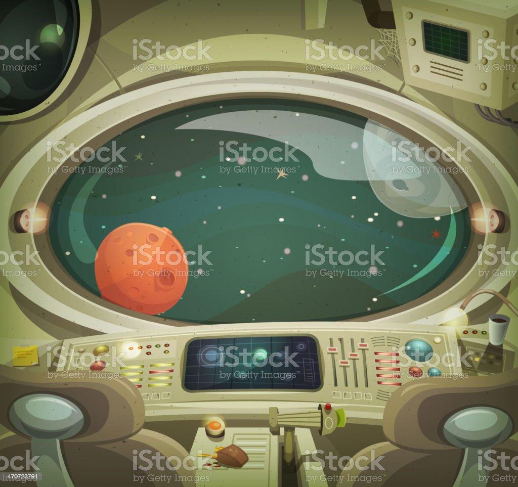 Spaceship Interior vector art illustration