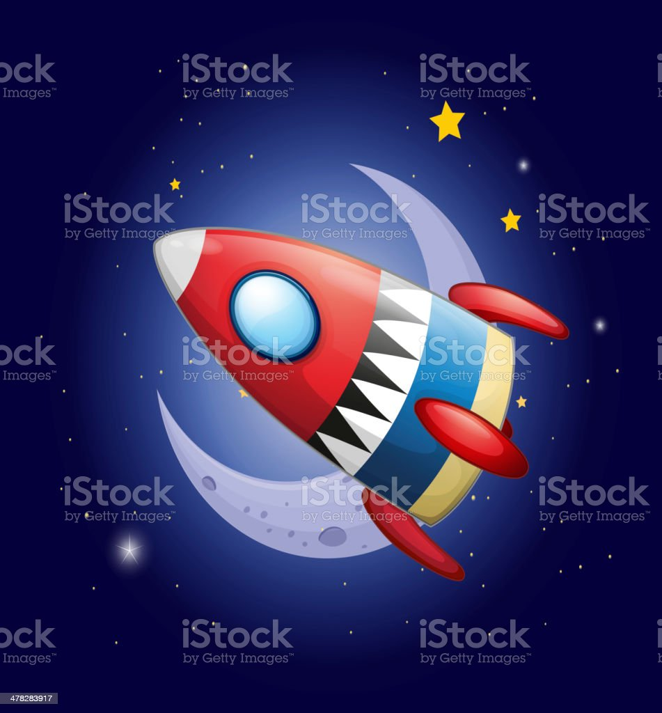 spaceship near the moon royalty-free stock vector art