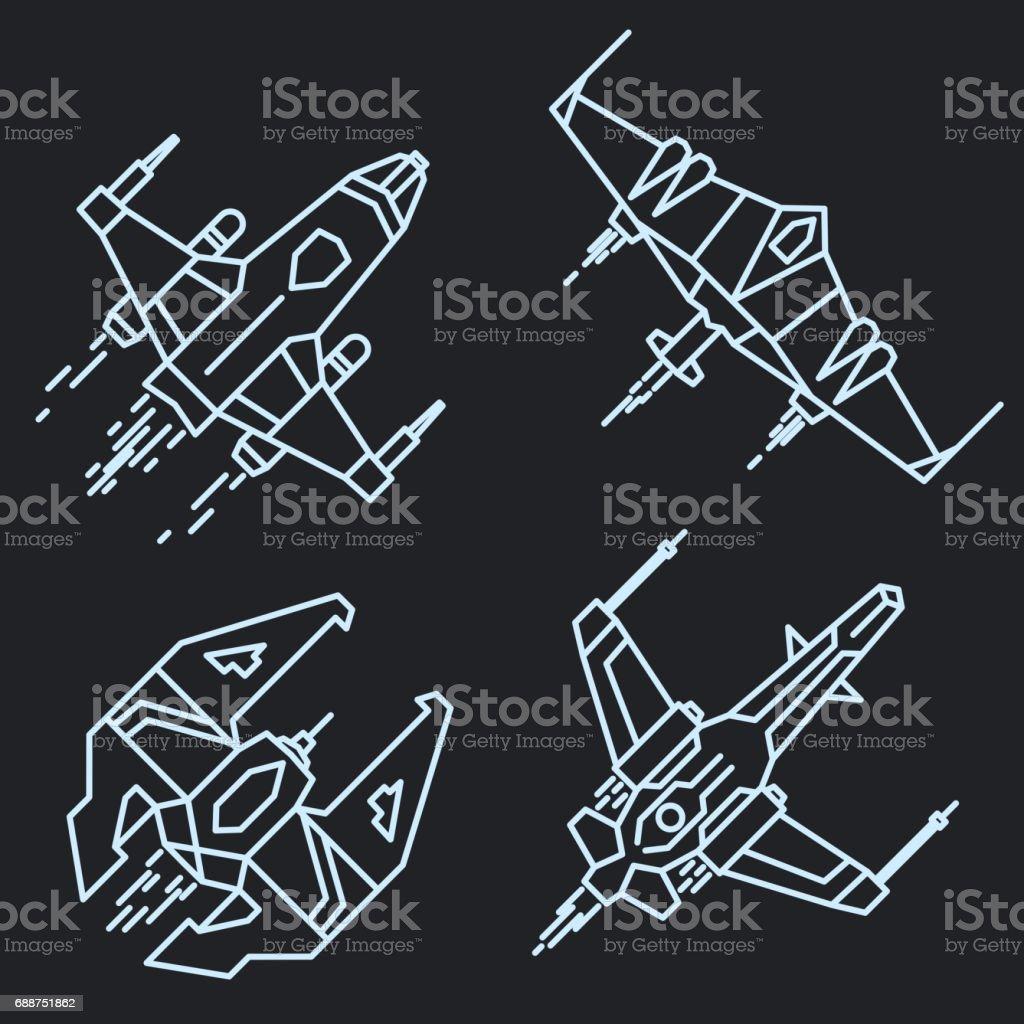 spaceship outline linear flying rocket vector illustracion libre