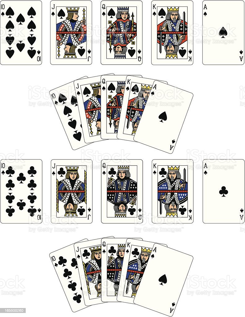 Spade and Club Suit Royal Flush playing cards vector art illustration