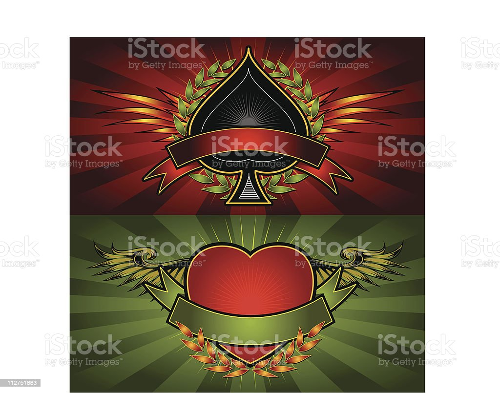 Spade and Heart Poker Logo Crests vector art illustration