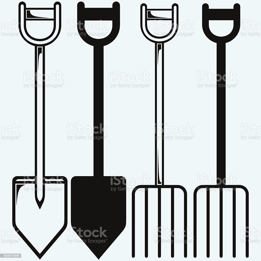 Spade and pitchfork vector art illustration