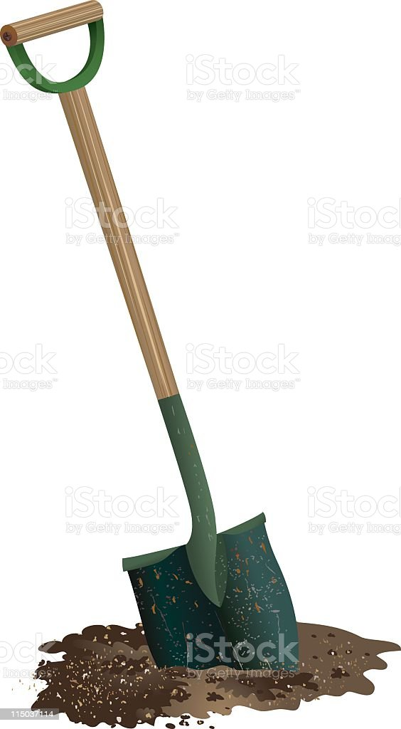 Spade Shovel with wooden handle Digging in pile of Soil vector art illustration