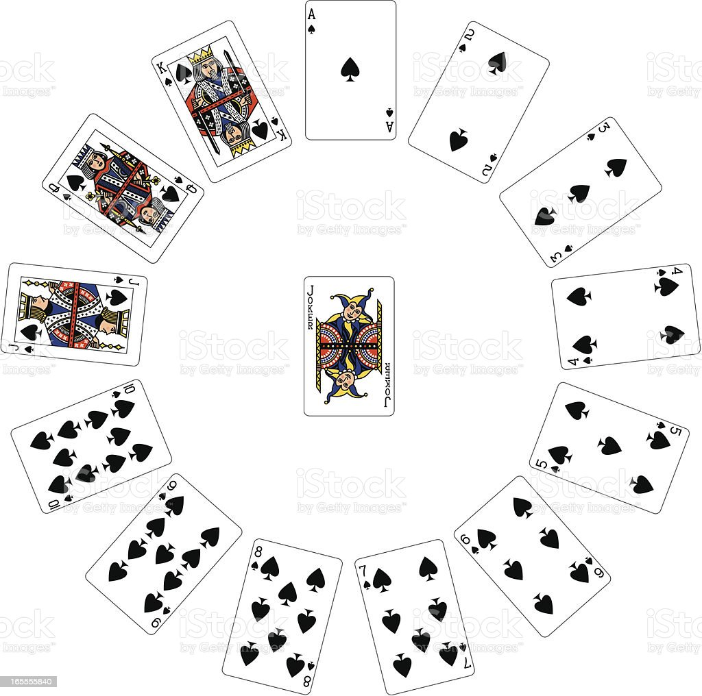 Spade Suit Circle of playing cards royalty-free stock vector art