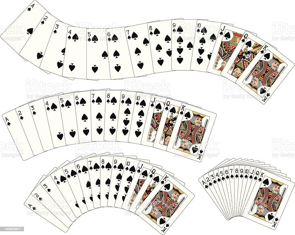 Spade Suit Flush playing cards vector art illustration