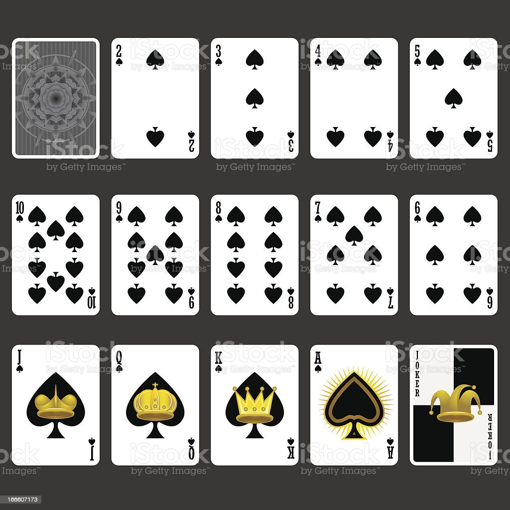 Spade Suit Playing Cards Full Set vector art illustration