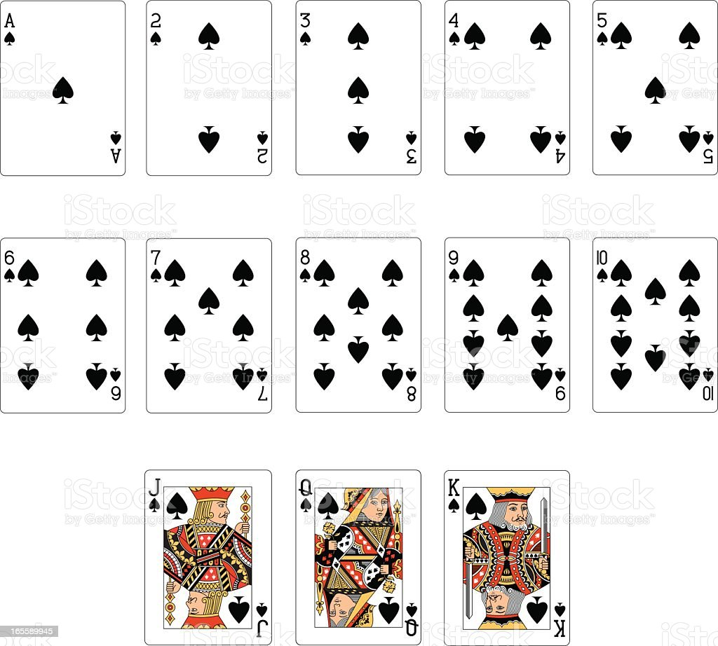 Spade Suit Two playing Cards vector art illustration