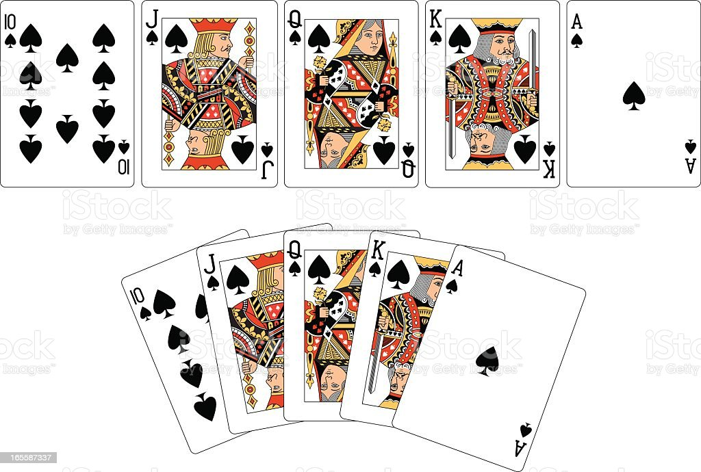 Spade Suit Two Royal Flush playing cards vector art illustration
