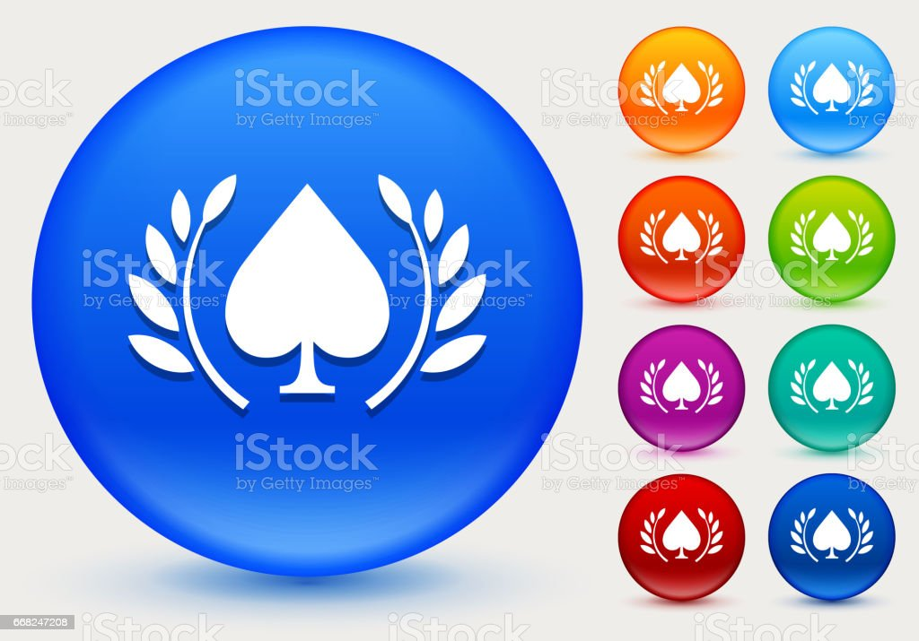 Spades Icon on Shiny Color Circle Buttons vector art illustration