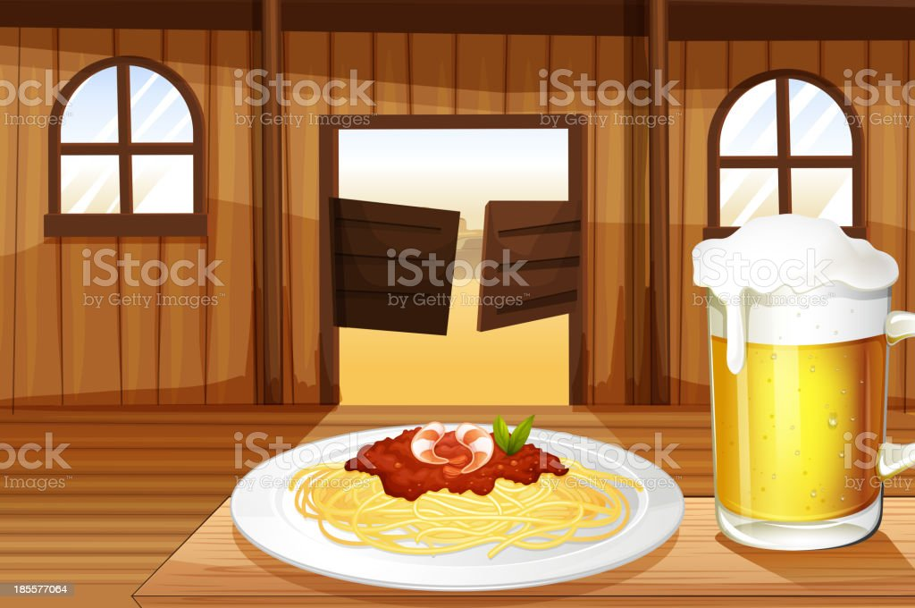 spaghetti and a glass of beer inside the saloon bar vector art illustration