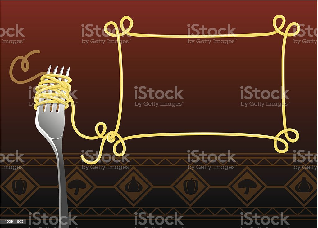 Spaghetti And Fork Banner vector art illustration