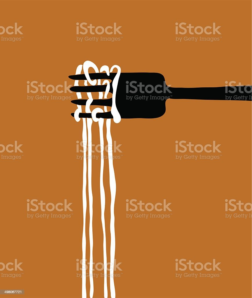 spaghetti and fork logo vector vector art illustration