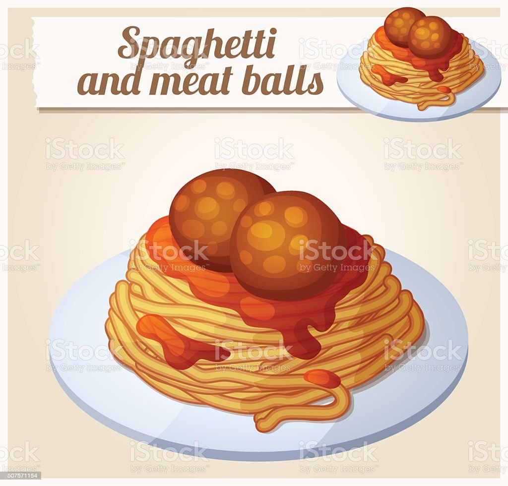 Spaghetti and meat balls. Detailed vector icon vector art illustration