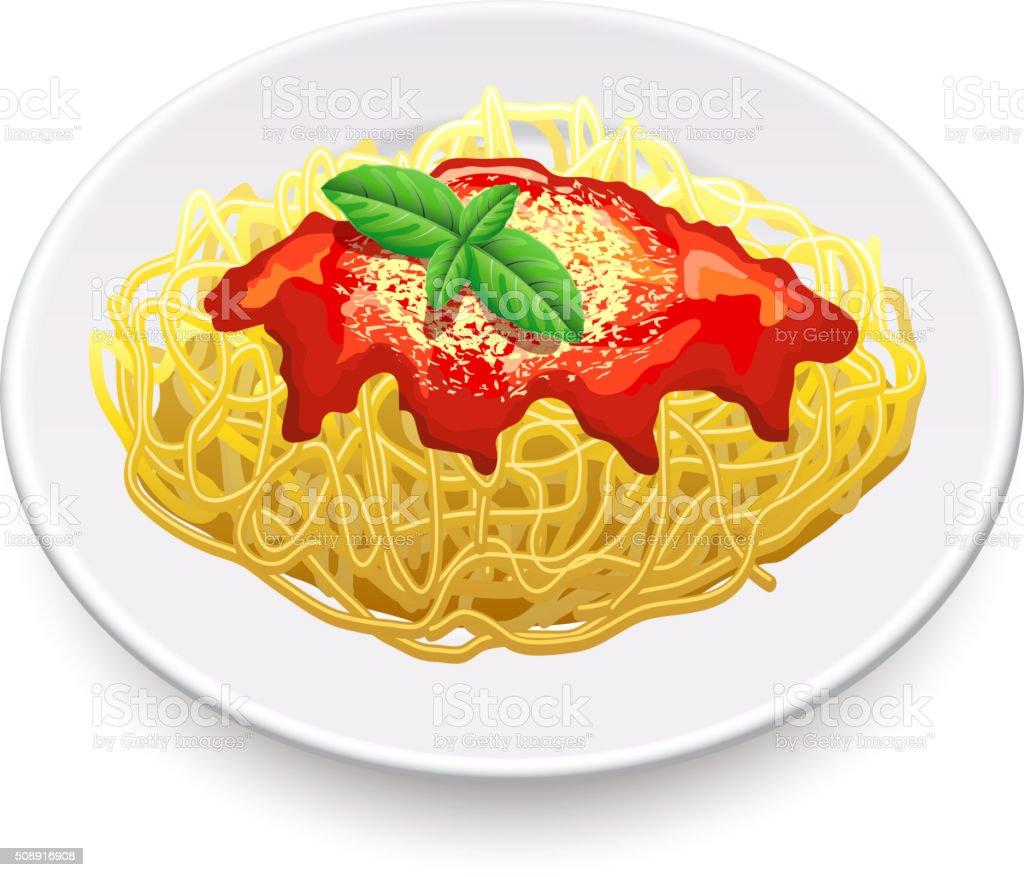 Spaghetti bolognese isolated on white vector vector art illustration