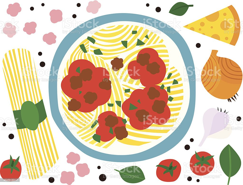 Spaghetti Bolognese with Ingredients royalty-free stock vector art
