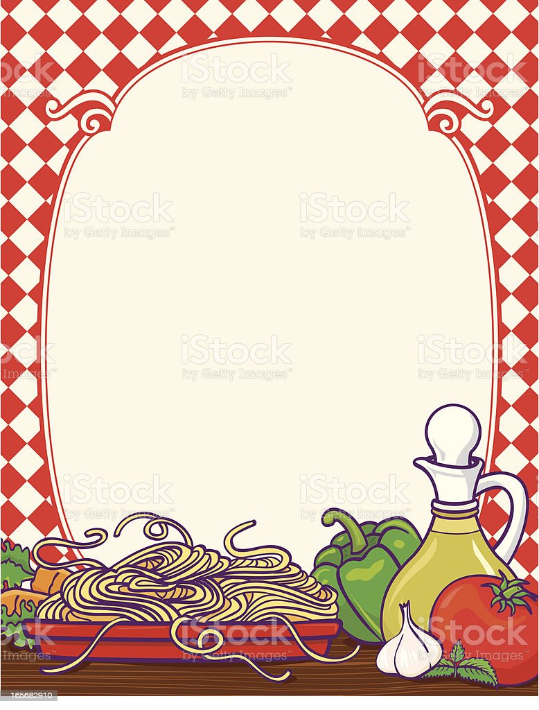 Spaghetti border vector art illustration