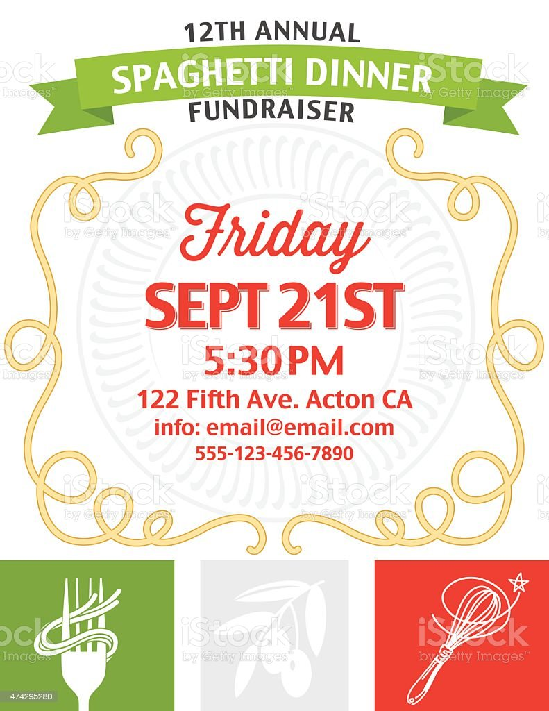 Spaghetti Dinner Fundraiser Invitation Vertical Template on white background vector art illustration