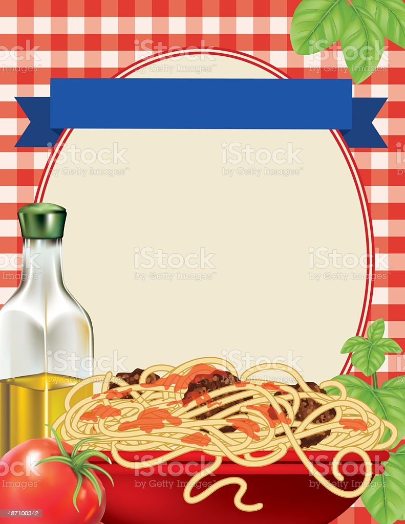 Spaghetti Dinner Poster Template on Red Plaid Tablecloth vector art illustration