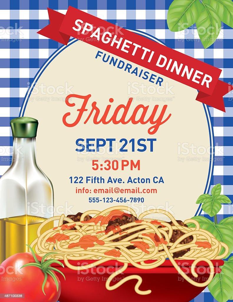 Spaghetti Dinner Vertical Invite Poster Template on Blue Plaid Tablecloh vector art illustration