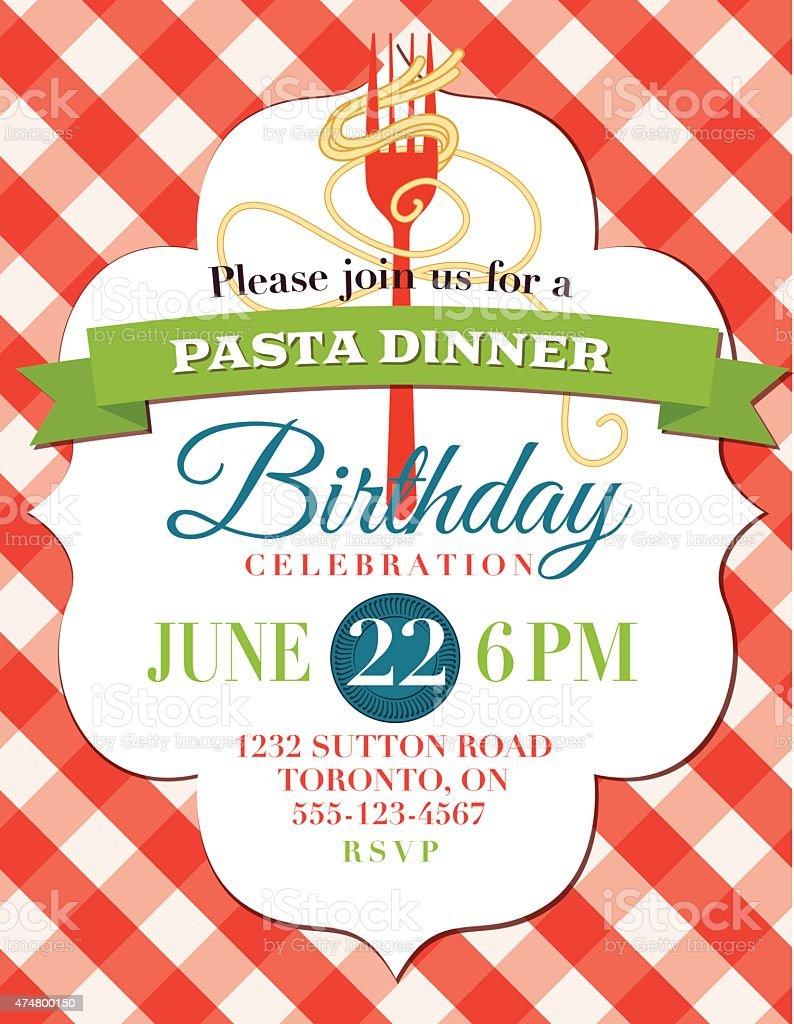Spaghetti Dinner Vertical Invite Poster Template on Checkered Background vector art illustration