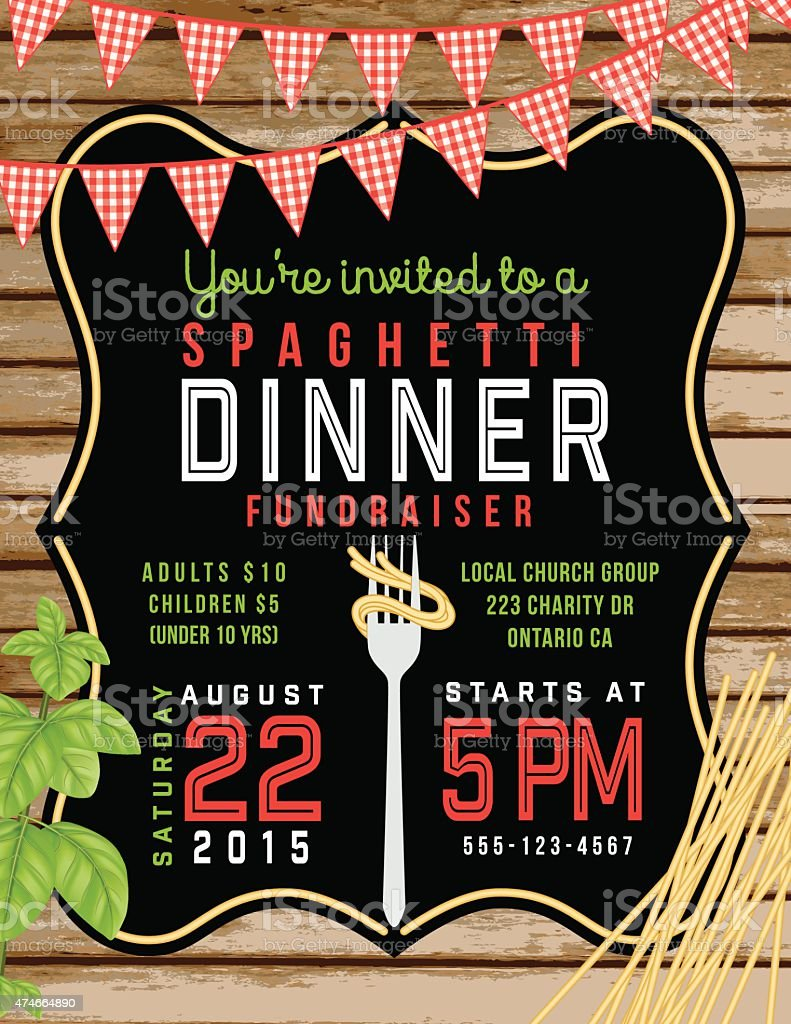 Spaghetti Dinner Vertical Invite Poster Template on Horizontal Woodgrain Background vector art illustration