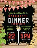 Spaghetti Dinner Vertical Invite Poster Template on Horizontal Woodgrain Background