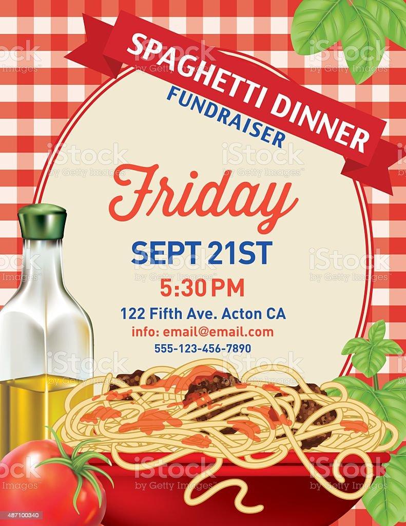 Spaghetti Dinner Vertical Invite Poster Template on Red Plaid Tablecloh vector art illustration