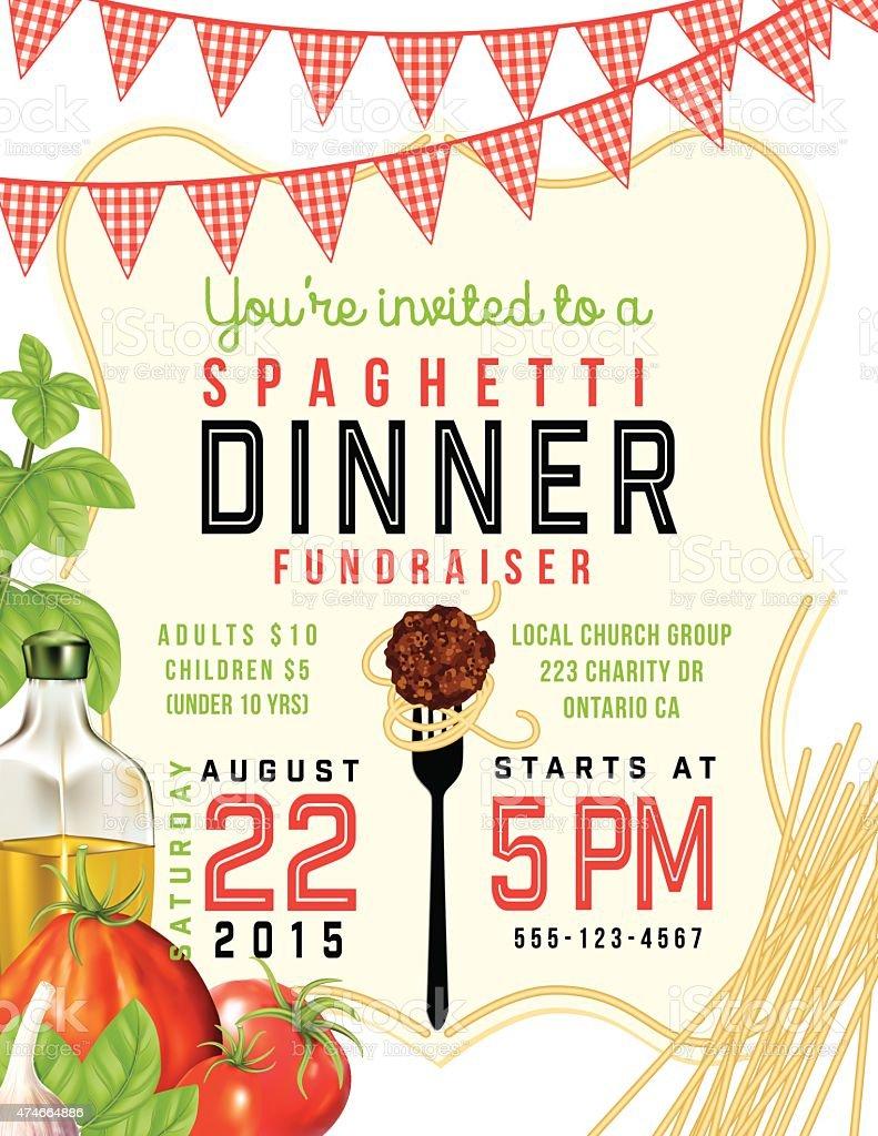 Spaghetti Dinner Vertical Invite Poster Template on White Background vector art illustration