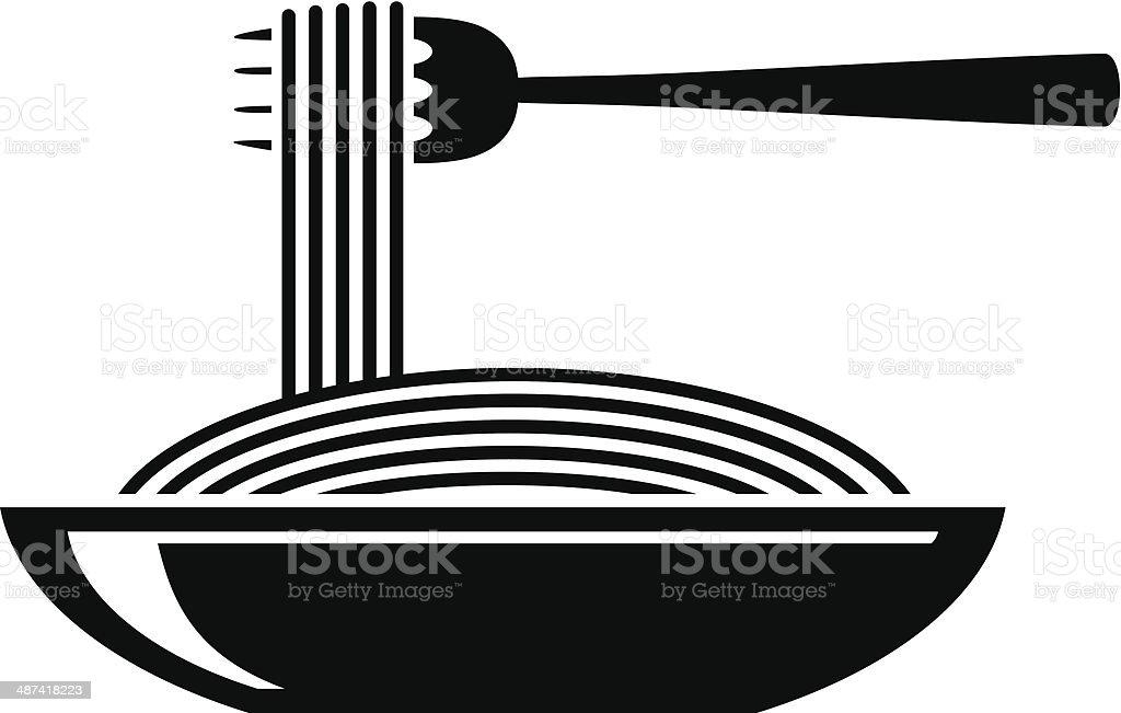 Spaghetti icon vector art illustration