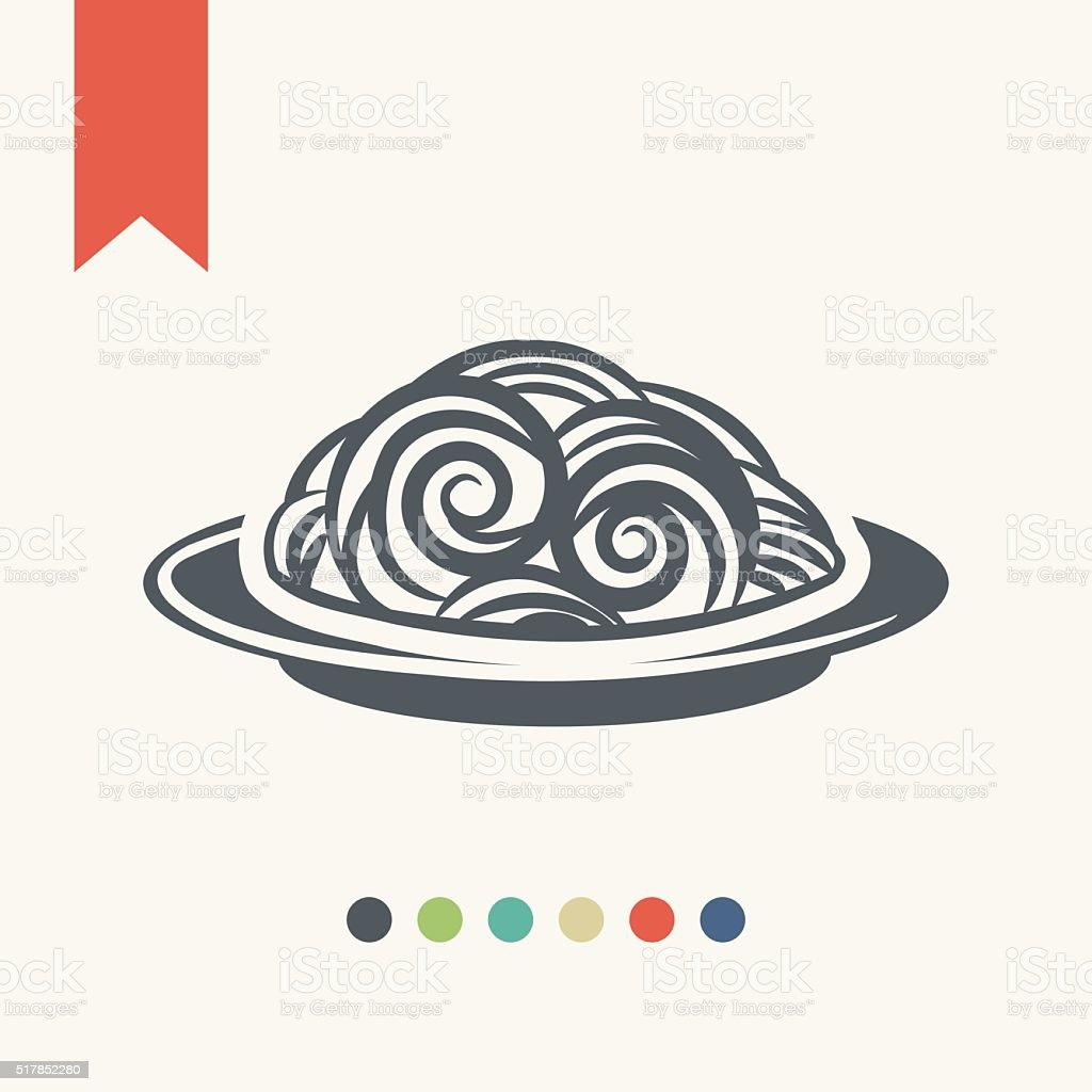 Spaghetti icon vector art illustration