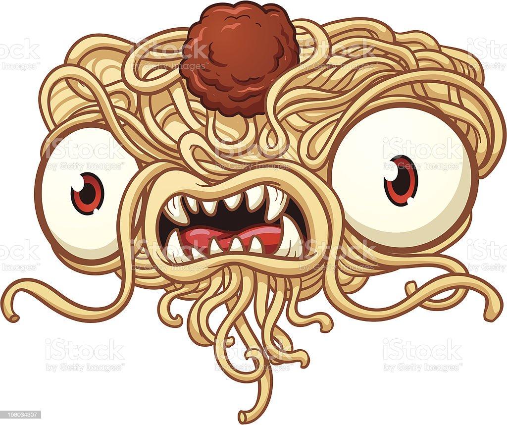 Spaghetti monster vector art illustration