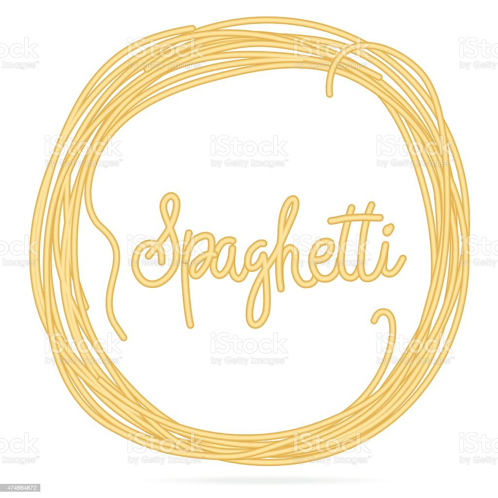 Spaghetti  Noodle Circle Frame with Spaghetti Word in Middle vector art illustration