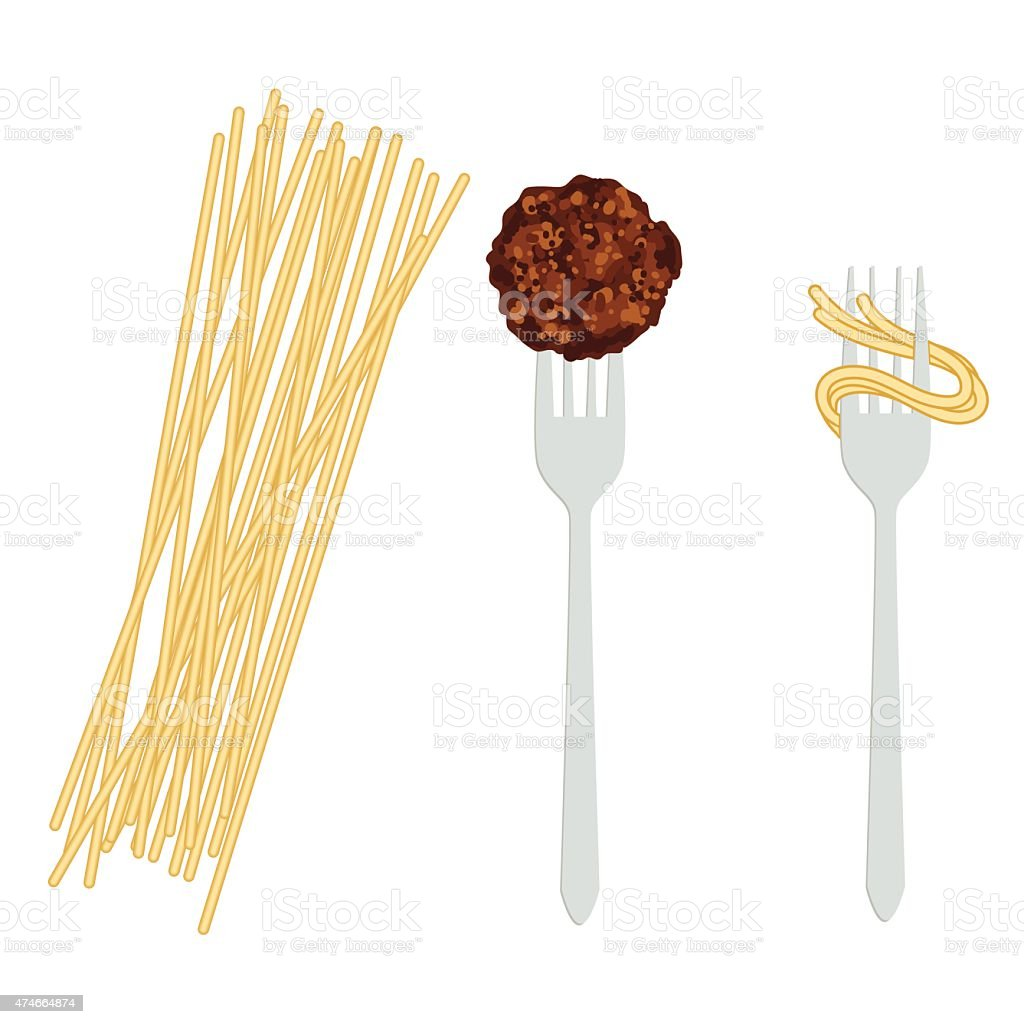 Spaghetti Noodles with Two Forks Isolated on White Background vector art illustration