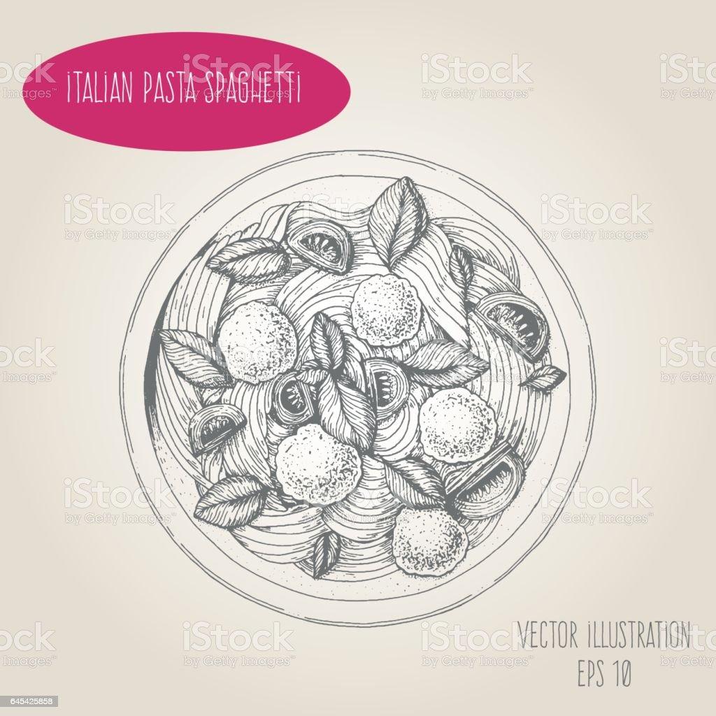 Spaghetti pasta and meatballs vector illustration. vector art illustration