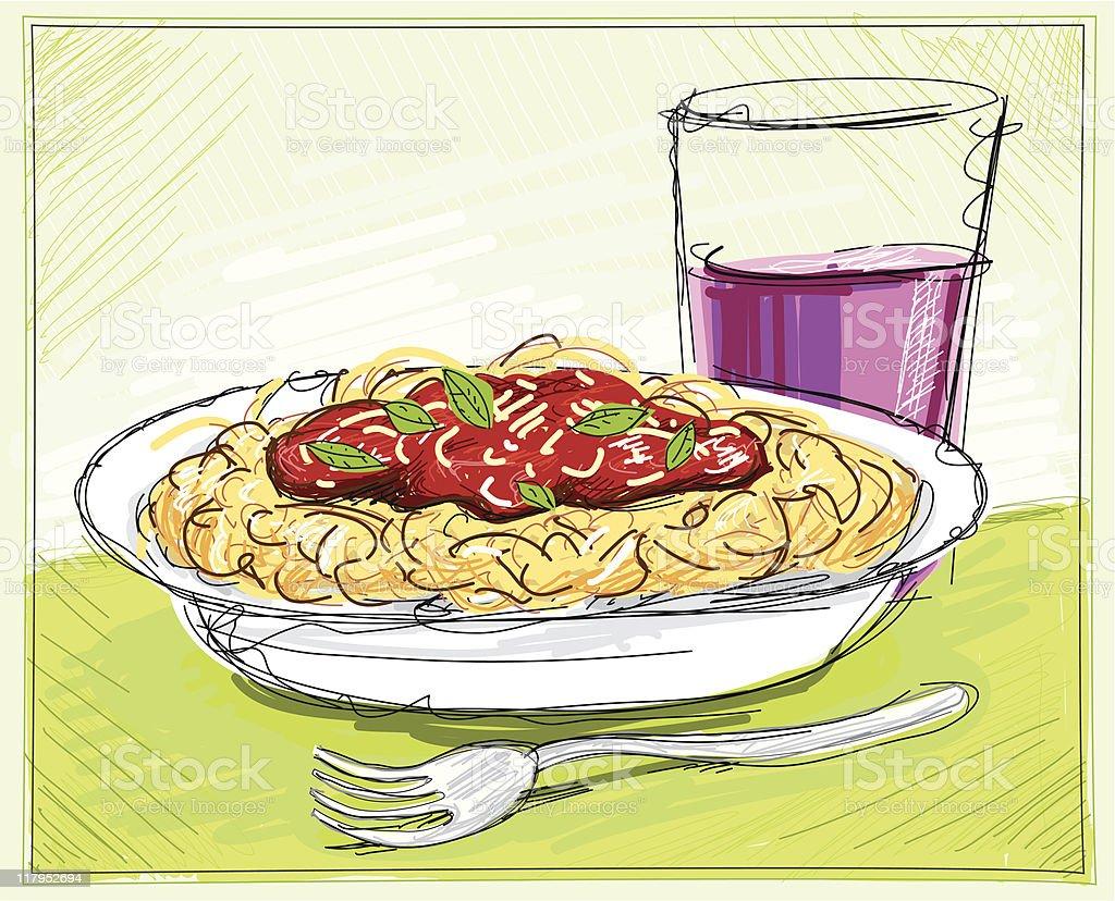 Spaghetti royalty-free stock vector art