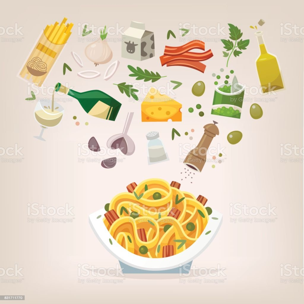 Spaghetti with bacon and peas vector art illustration
