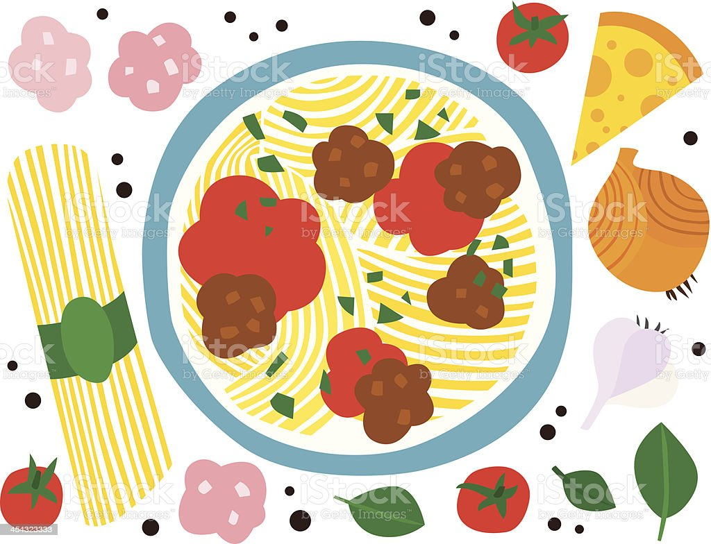 Spaghetti with Meatballs and Ingredients vector art illustration