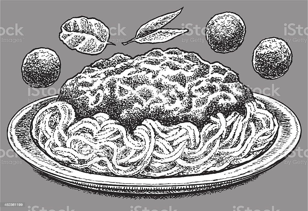 Spaghetti with Meatballs - Italian Food vector art illustration