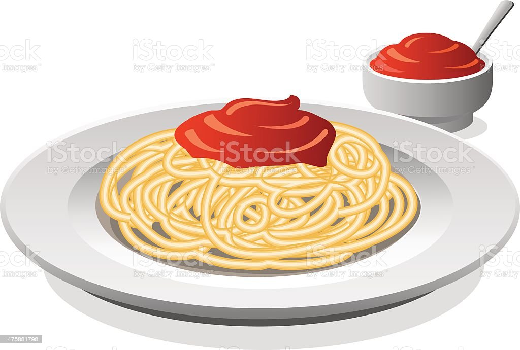 spaghetti with sauce vector art illustration