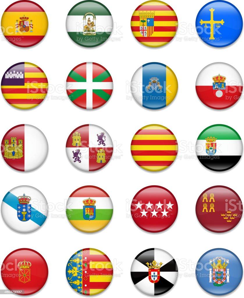 Spain Autonomous Communities Button Flag Collection royalty-free stock vector art