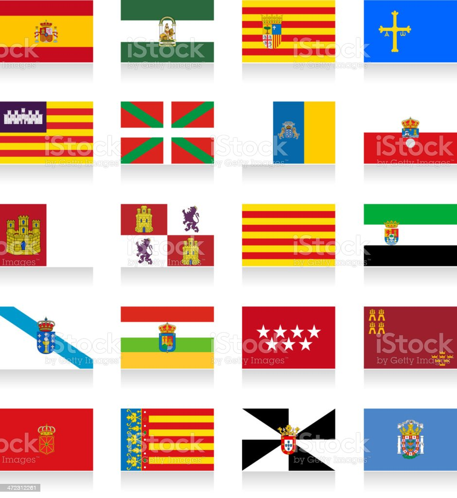 Spain Autonomous Communities Flag Collection vector art illustration