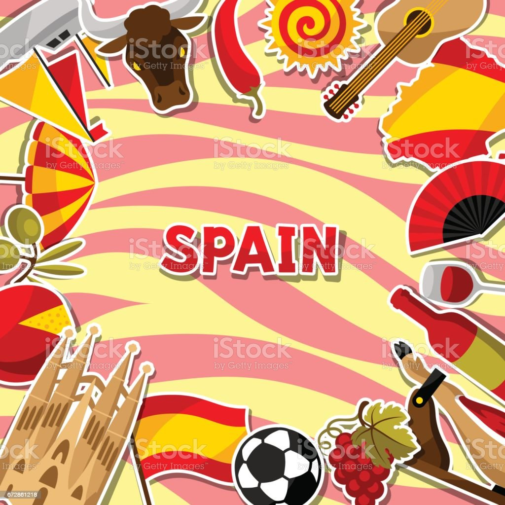 spain background design spanish traditional sticker symbols and
