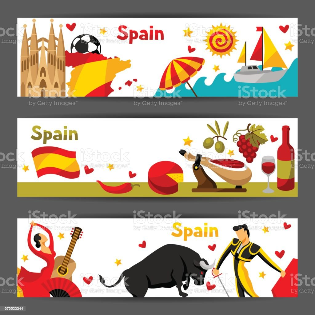spain banners design spanish traditional symbols and objects stock