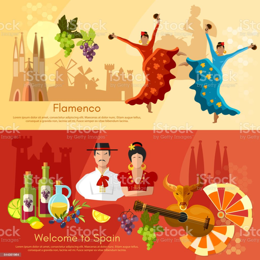 Spain banners traditions and culture spanish attractions vector art illustration