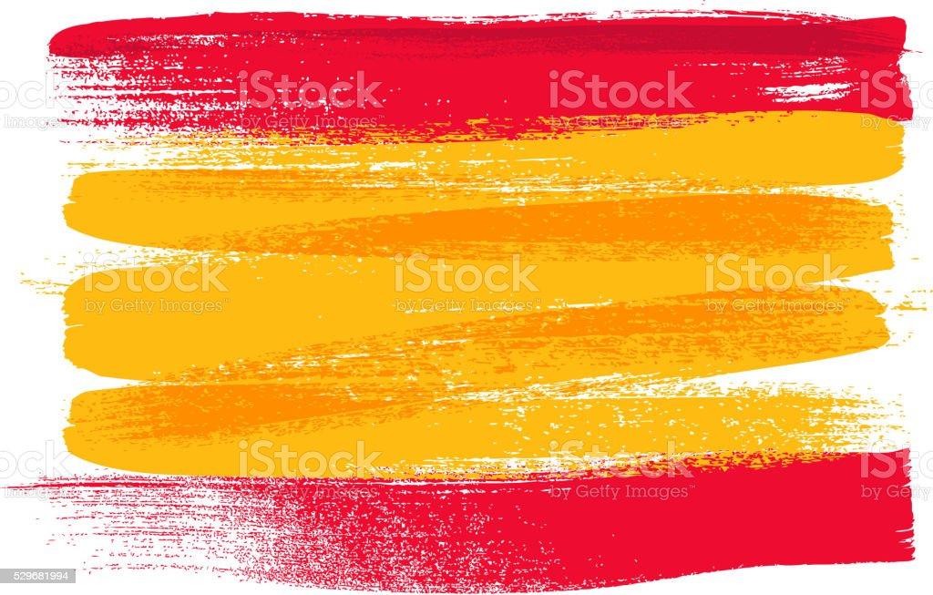 Spain colorful brush strokes painted flag vector art illustration