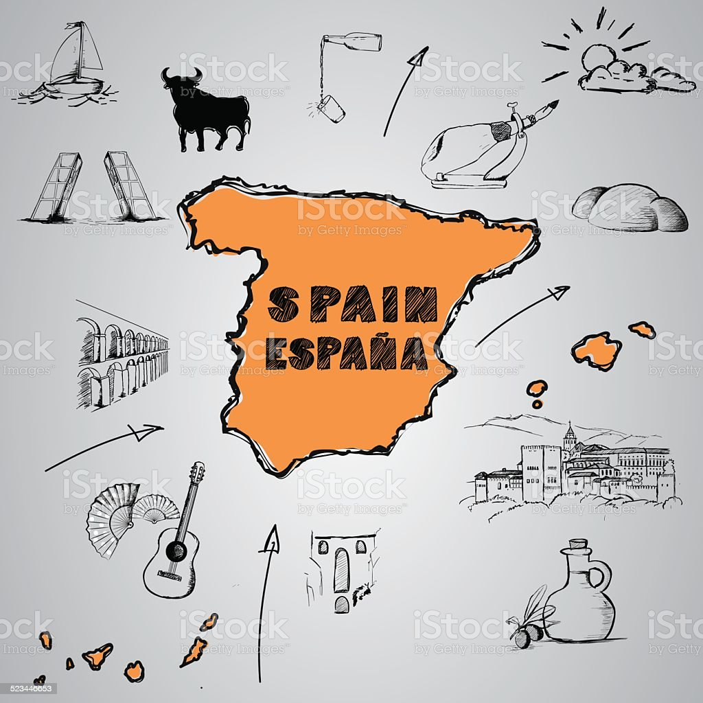 Spain culture vector art illustration