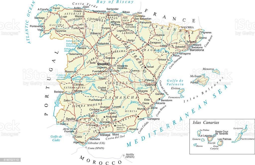Spain - detailed map - illustration vector art illustration