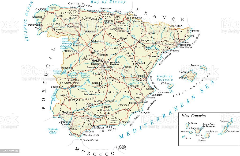 Spain - detailed map - illustration vector art illustration